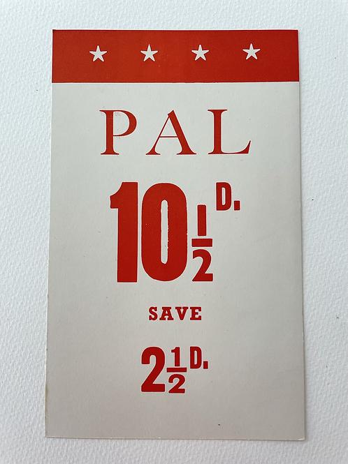 PAL DOG FOOD - vintage shop display card