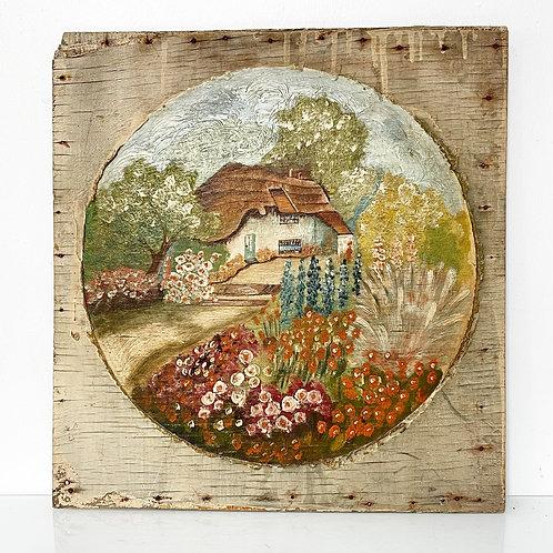 FLOWER GARDEN - oil painting on board