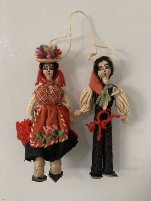 Pair of Vintage Folk Art String Dolls