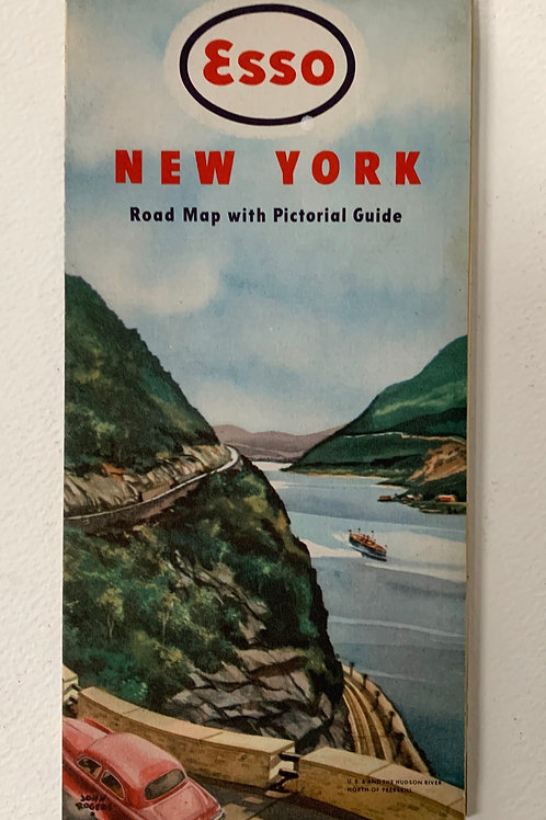 Old Vintage American 1940s ESSO Road Map NEW YORK 1949