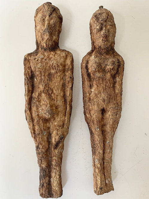 Old Antique Hand Carved Folk Art Effigy Figures Man & Woman - Ceremonial Human