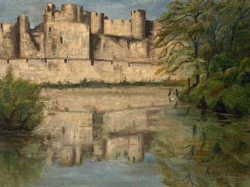 CAERPHILLY CASTLE - vintage painting
