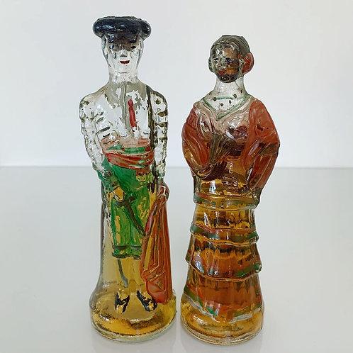Pair of Vintage Spanish Souvenir Brandy Bottles - Bullfighter & Lady