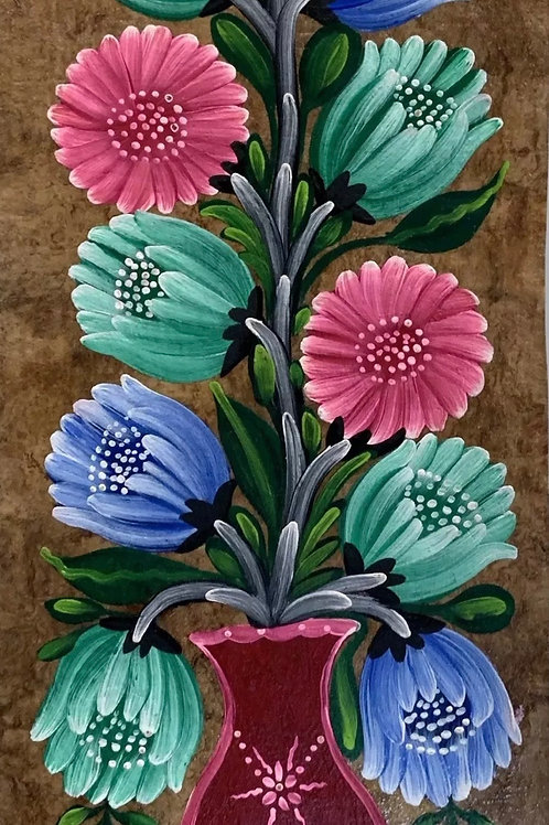 FLOWERS PAINTING on Amate Tree Bark - Vintage Traditional Mexican Original Art