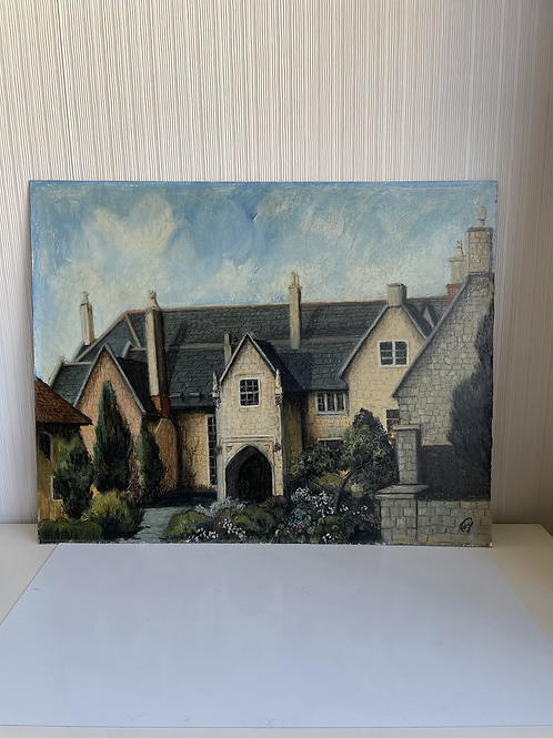 WELLS CATHEDRAL SCHOOL - vintage painting on board