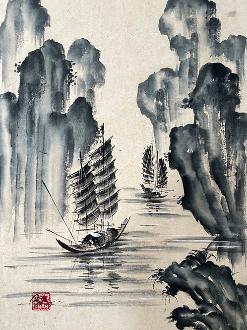 HALONG BAY VIETNAM - b/w watercolour with traditional boars and karsts