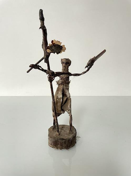 FOLK ART WARRIOR FIGURE - vintage shamanic figure