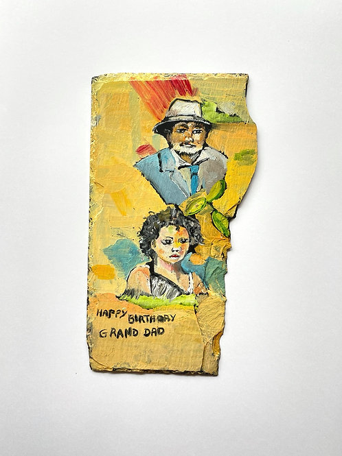 HAPPY BIRTHDAY GRANDAD - vintage outsider art painting on slate -