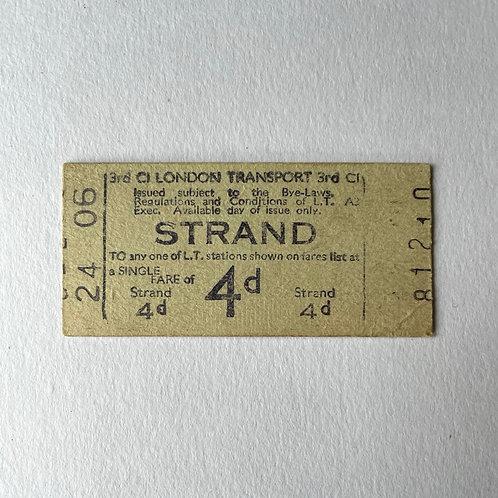 STRAND  - vintage london underground  ticket 4d