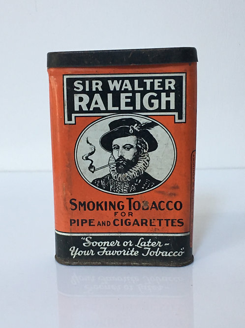 Vintage Sir Walter Raleigh Smoking Tobacco Tin for Pipe and Cigarettes