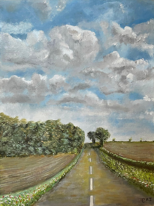 OPEN ROAD - vintage oil painting trees and clouds