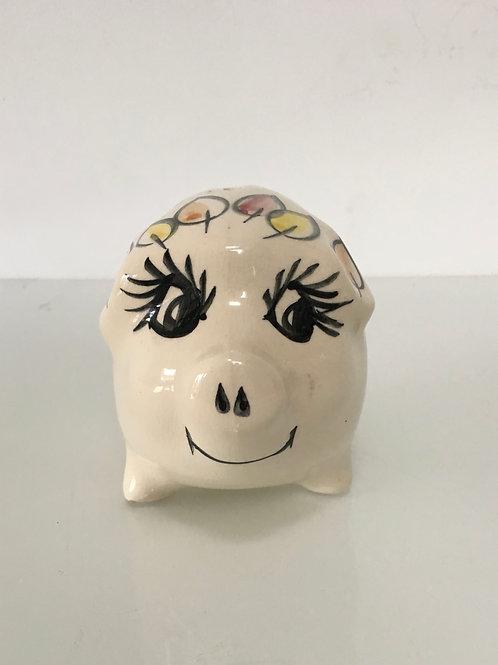 1950s GEOFFREY MAUND PIGGY BOX - hand painted vintage money box