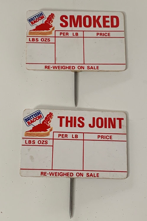 Vintage Butchers Shop Bacon Price Tags