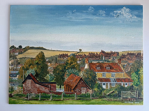 Vintage 1970s Oil Painting on Canvas Board CROSS FARM ILMINSTER by Arthur Page