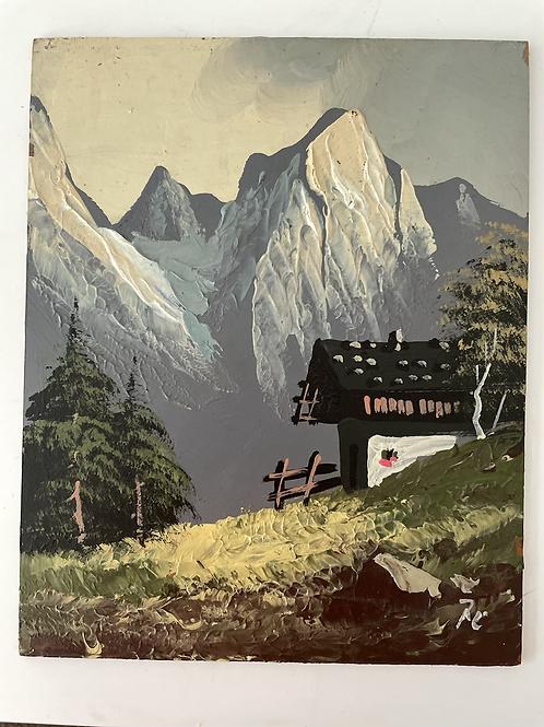 MOUNTAINS - vintage oil painting alpine scene
