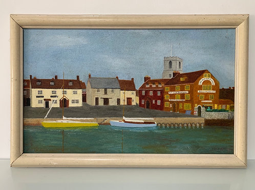 WAREHAM QUAY  - vintage Oil Painting Robert Moody