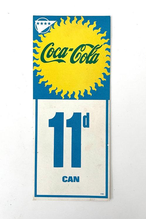 COCA COLA - vintage shop price label