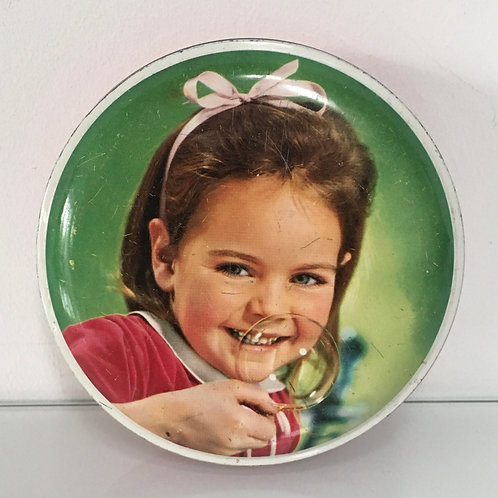 Small Vintage Sweets Tin Young Girl Bubbles - Retro Advertising