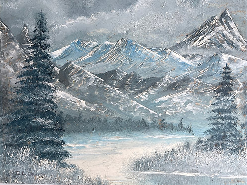 SNOW CAPPED MOUNTAINS - vintage oil painting on board