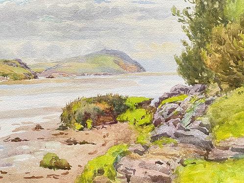 RIVER ESTUARY watercolour painting scene  - framed