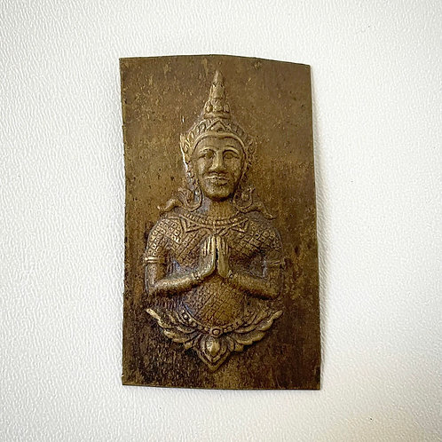 buddha amulet mould - antique thai relief brass