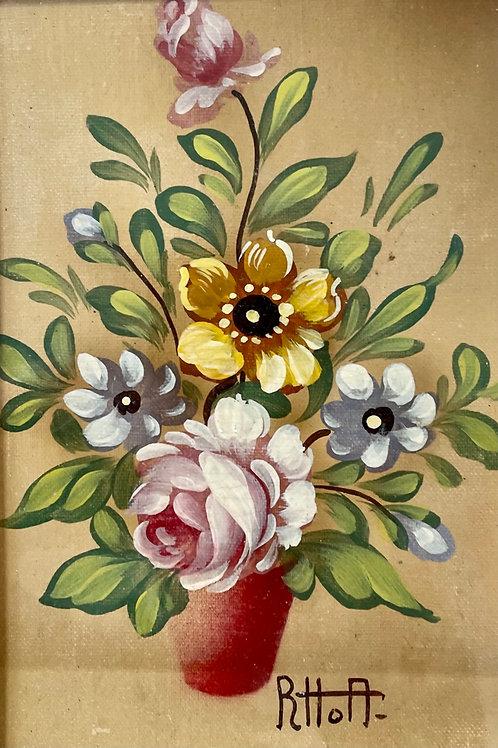 FLOWERS - vintage oil painting