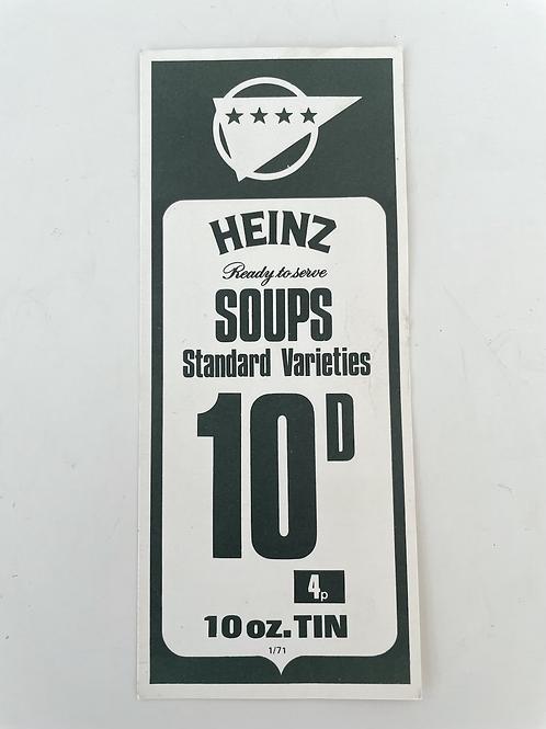 HEINZ SOUPS - vintage food shop price label