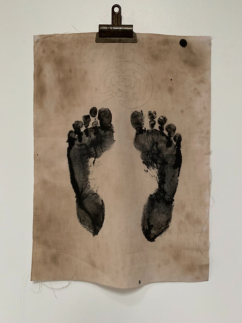 Vintage Ceremonial Monks Foot Print - Ink on Cloth - Ritual