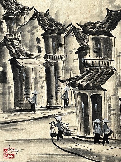 STREET SCENE VIETNAM - b/w watercolour with traditional houses