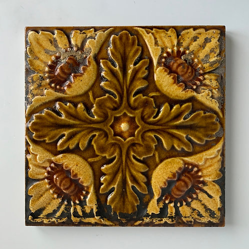Vintage Majolica Ceramic Tile - British