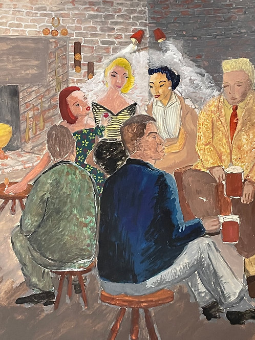 CPUB LOUNGE 2  by Geraldine Maloney - 1950s painting
