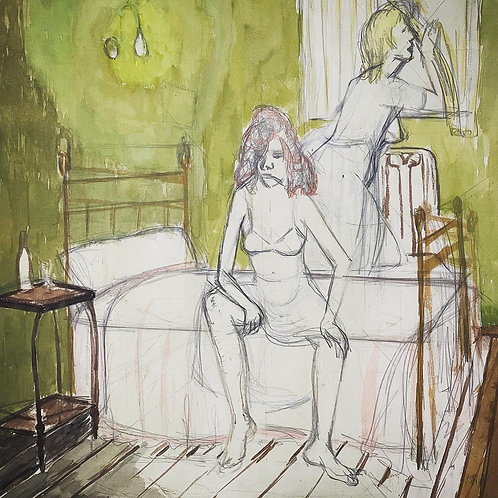 THE MORNING AFTER - vintage 1950s sketch painting by geraldine maloney
