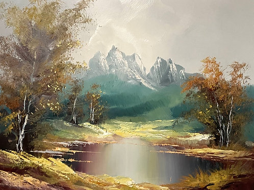 ALPINE MOUNTAIN SCENE - vintage oil painting