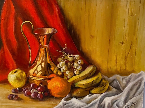 STILL LIFE PAINTING WITH CARAFE AND FRUIT on Board
