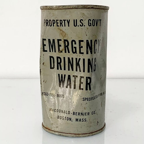 EMERGENCY DRINKING WATER supply tin can vintage us government military