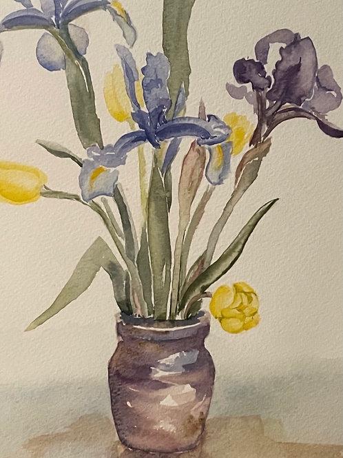 FLOWERS IN VASE  -  vintage watercolour painting