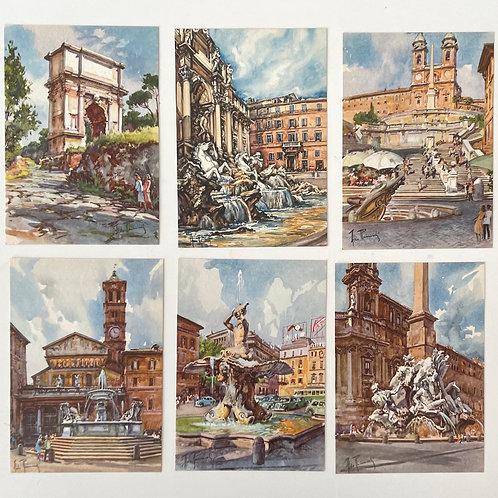 ROMA - vintage aquarelle postcards