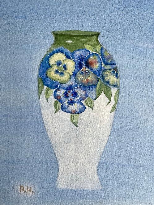 FLORAL VASE - vintage original art watercolour painting