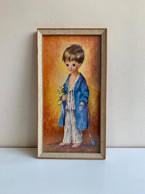 Vintage 1960s Print of Young Boy in Pyjamas by Audrey Dallas Simpson