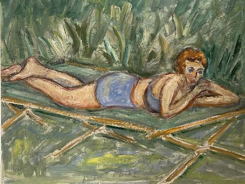 GIRL IN BIKINI ON SUNLOUNGER - vintage original art painting - on board