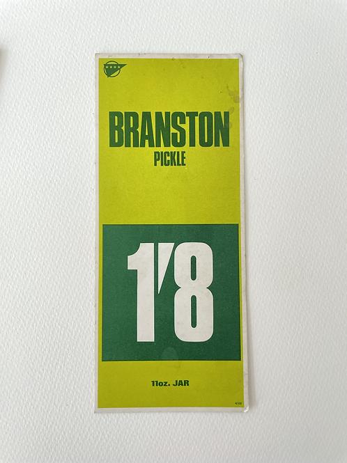 BRANSTON PICKLE - vintage food shop price card label