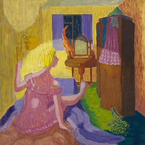 WOKEN BY THE CAT by Geraldine Maloney - 1950s painting