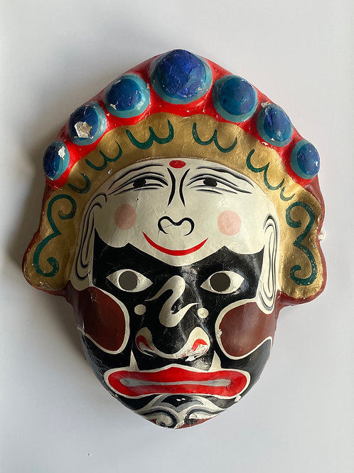 PAPIER MACHE FACE MASK - vintage oriental japanese theatrical design