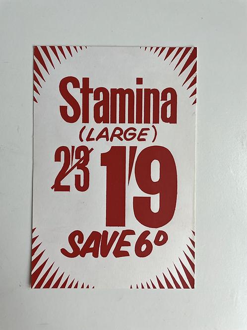 STAMINA DOG FOOD - vintage shop price label