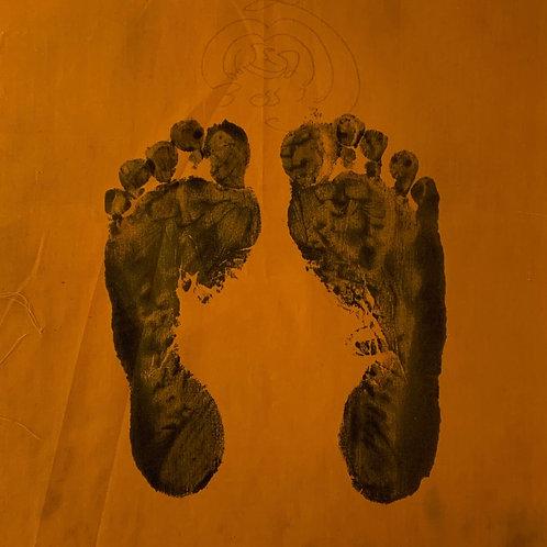 Original Vintage Thai Religious Ceremonial Portrait Footprints - Ink on Cloth -