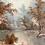 Thumbnail: AUTUMNAL TREES & RIVER - vintage decorative painting