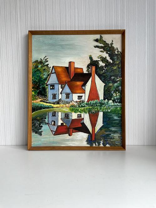 70s ART - vintage original oil painting signed