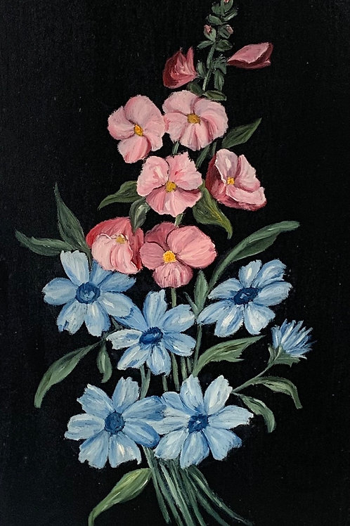 FLOWERS by p daniel - vintage painting on wood panel