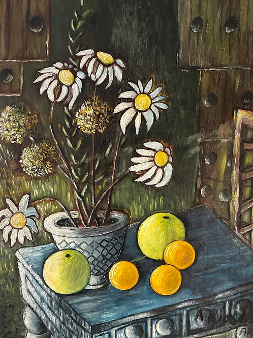 FRUIT AND FLOWERS - vintage still life painting signed