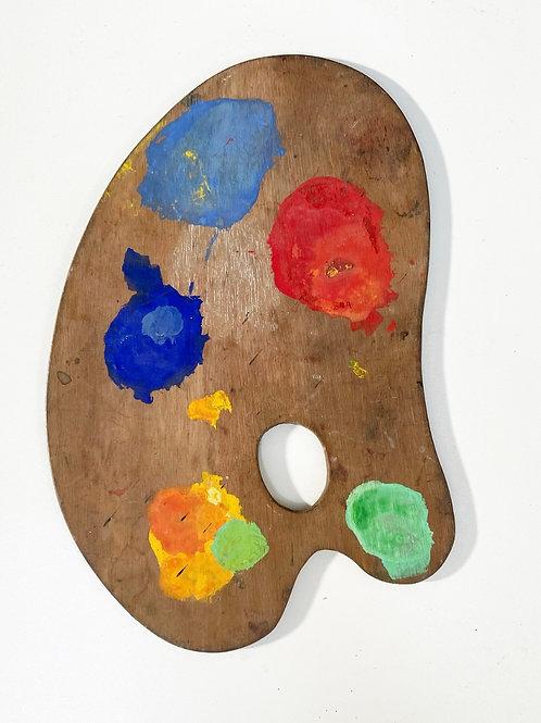 ARTISTS PAINT PALETTE - vintage decorative wood